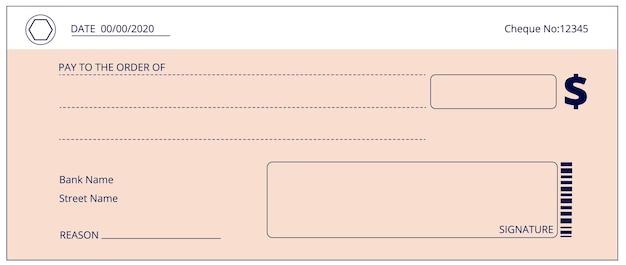 Czek bankowy. czeki in blanco, czek darowizny pieniężnej. pusty szablon strony książeczki czekowej. prosty układ płatności, fałszywe tło wektor wynagrodzenia. czek biznesowy, czek finansowy, pusta ilustracja