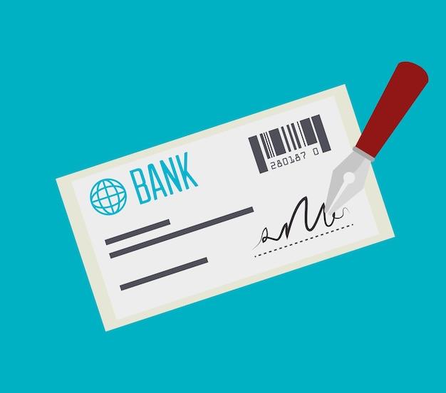 Czek bankowy płatność na białym tle