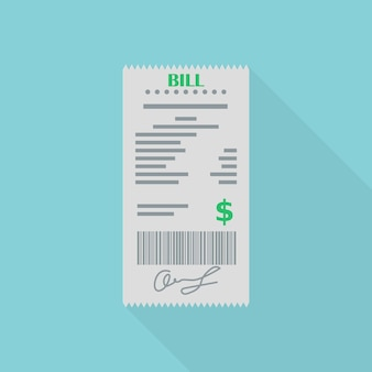 Czek finansowy na rachunku lub w restauracji. odbiór zamówienia, faktura na niebieskim tle