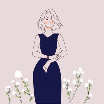 Czekająca dziewczyna liniowa ilustracja