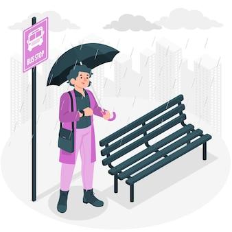 Czekam w deszczu ilustracja koncepcja