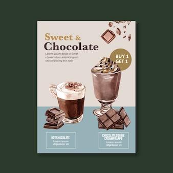 Czekolada plakat z frappe napój czekoladowy, ilustracja akwarela