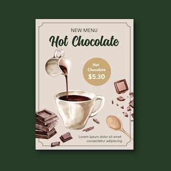 Czekolada plakat z gorącym napojem czekoladowym, ilustracja akwarela