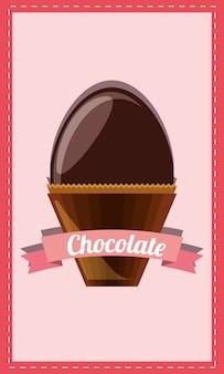 Czekolada z dekoracyjną wstążką i czekoladowe jajko ikona na różowym tle