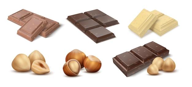 Czekolada z orzechami. batony deserowe kakaowe z orzechami laskowymi, kawałkami mlecznej czekolady i kawałkami z okruchami. ilustracje wektorowe naturalny słodki produkt premium czekoladowy projekt