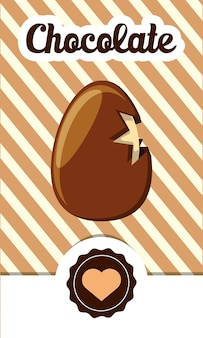 Czekolada z rozbitej czekolady jajeczną ikoną nad żółtym i brown pasiastym tłem