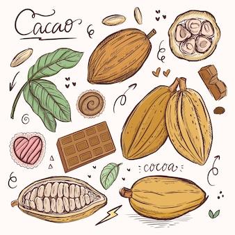 Czekolada ziarna kakao roślina rysunek klasyczna ilustracja w stylu grawerowania