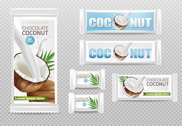 Czekoladki kokosowe na białym tle