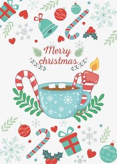 Czekoladowa filiżanka marshmallow świeczki cukierku trzciny wesoło kartka bożonarodzeniowa