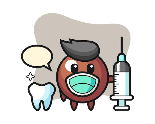 Czekoladowa kula kreskówka jako dentysta