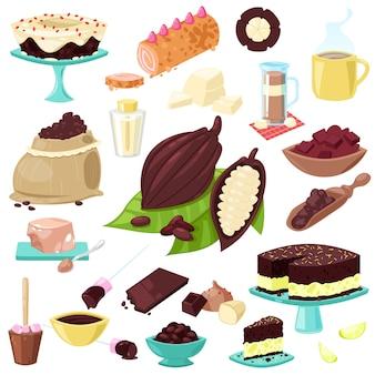 Czekoladowe choco słodkie jedzenie z ziaren kakaowych lub proszku kakaowego na napój zestaw ilustracji owoców tropikalnych i ciasta lub słodyczy na białym tle