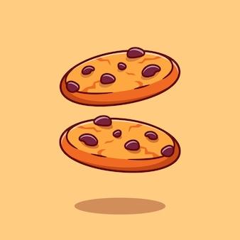 Czekoladowe ciasteczka kreskówka ikona ilustracja. koncepcja ikona przekąska jedzenie na białym tle. płaski styl kreskówki