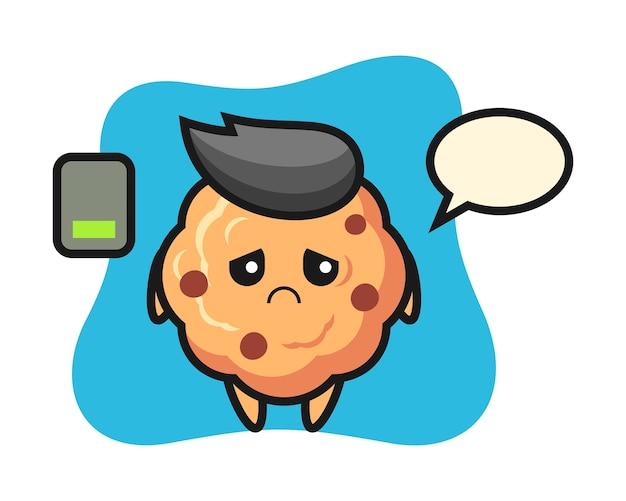 Czekoladowe ciasteczka maskotka postać robi zmęczony gest
