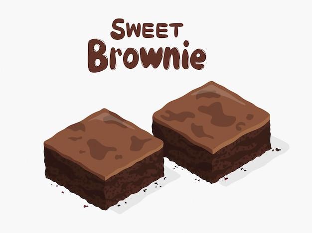 Czekoladowe ciasteczka na białym tle. dwa kawałki ciasta brownie jako domowe deserowe jedzenie.