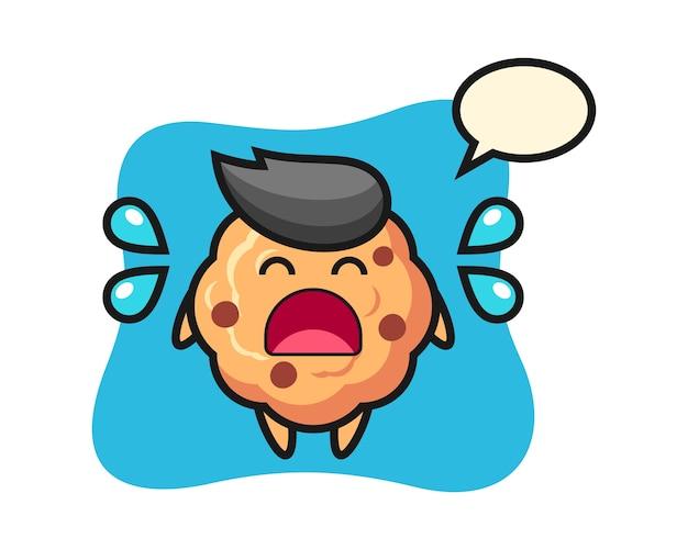 Czekoladowe ciasteczko kreskówka z płaczu gestem