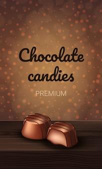 Czekoladowe cukierki premium na brązowym tle.