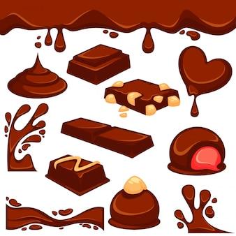 Czekoladowe deserowe i słodycze wektorowe ikony