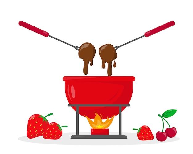 Czekoladowe fondue w ceramicznej misce z ogniem i jagodami w pobliżu