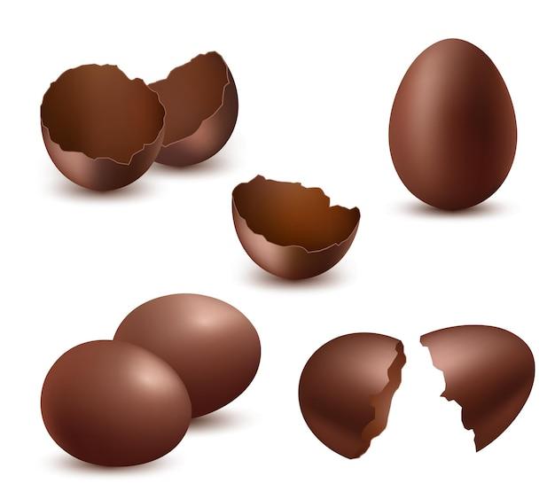 Czekoladowe jajka. smaczne jedzenie słodkie błyszczące naturalne pyszne produkty dla dzieci realistyczna kolekcja symboli wielkanocnych.