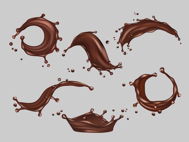 Czekoladowe rozpryski płynne kakao jedzenie gorący napój wektor realistyczne szablon