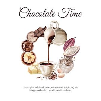 Czekoladowe składniki akwarela, co ilustracja czekoladowy napój cacoa i masła