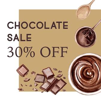 Czekoladowe składniki akwarela, co napój czekoladowy, ilustracja