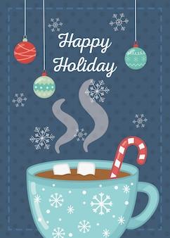 Czekoladowy kubek z pianki cukrowej trzciny cukrowej szczęśliwy wakacje karty
