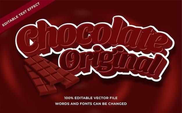 Czekoladowy oryginalny efekt tekstowy edytowalny dla ilustratora