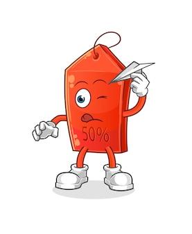 Czekoladowy pączek z charakterem papierowego samolotu. ilustracja kreskówka maskotka