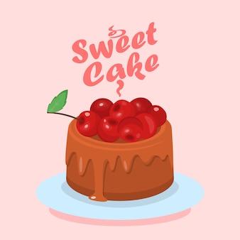 Czekoladowy tort z wiśniowym kreskówki sieci sztandarem