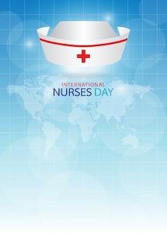 Czepek pielęgniarski na niebieskim tle