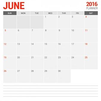 Czerwca miesięczny kalendarz 2016