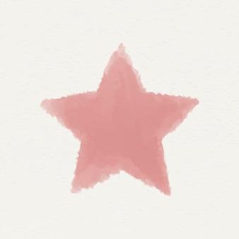 Czerwona akwarelowa gwiazda geometryczny kształt