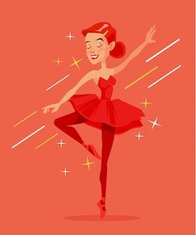 Czerwona balerina postać ilustracja kreskówka płaski