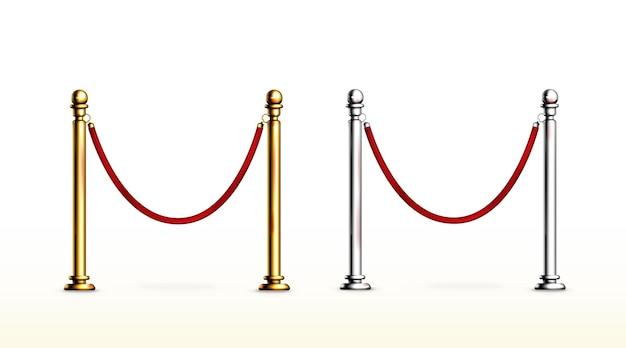 Czerwona bariera linowa ze złotymi i srebrnymi słupkami