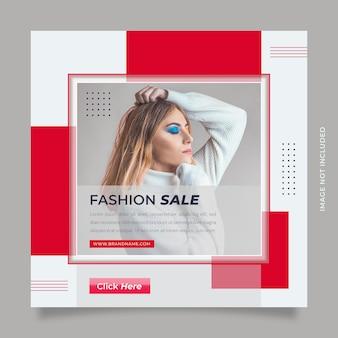 Czerwona biała moda sprzedaż postu w mediach społecznościowych i szablon banera