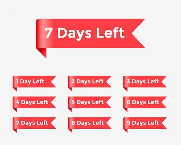 Czerwona błyszcząca wstążka na pozostałą liczbę dni