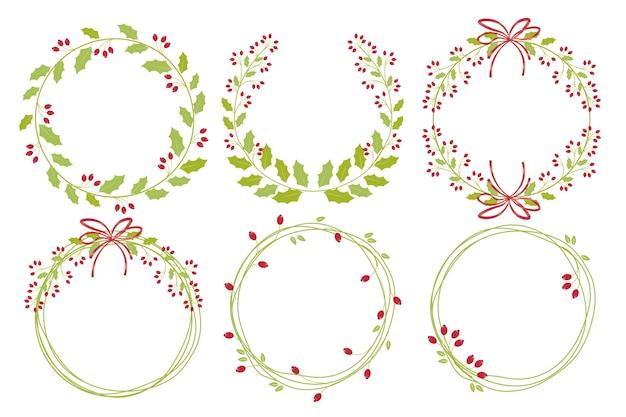 Czerwona boże narodzenie święta jagodowa wianek ramy kolekcja