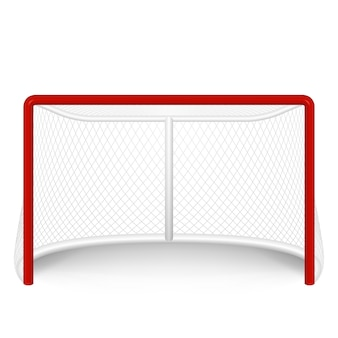 Czerwona bramka hokejowa, netto. na białym tle.