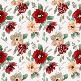 Czerwona brzoskwinia zielony kwiatowy wzór akwarela