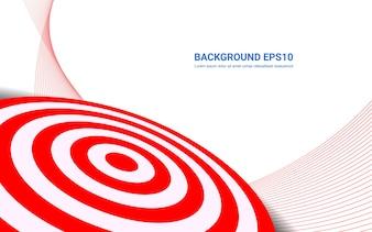 Czerwona cel deska na białym tle. Strzelanie do celu rozwiązania koncepcji sukcesu.