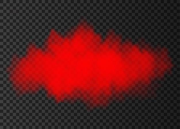 Czerwona chmura dymu na przezroczystym tle. efekt specjalny eksplozji pary. realistyczne wektor ogień mgła lub mgła tekstury.