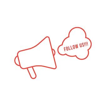 Czerwona cienka linia megafon jak reklama display. koncepcja śledź nas, sieć, raport, pr, najświeższe wiadomości, toot, treść. na białym tle płaski styl trend logo projekt ilustracji wektorowych