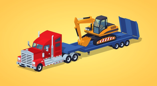 Czerwona ciężka ciężarówka z żółtą koparką na niebieskiej naczepie niskopodwoziowej