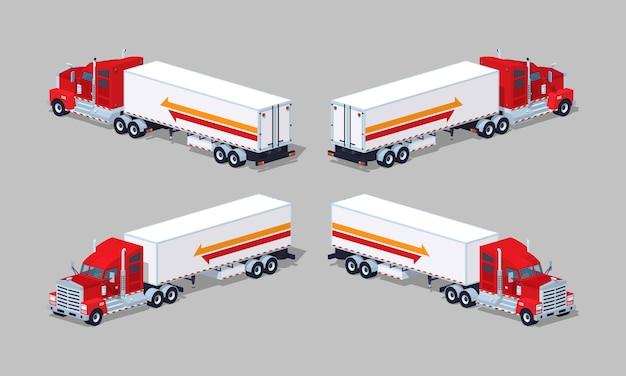 Czerwona ciężka izometryczna ciężarówka 3d z niską przyczepą z przyczepą
