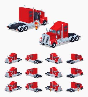 Czerwona ciężka izometryczna ciężarówka 3d