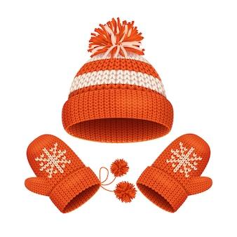 Czerwona czapka z pomponem i rękawiczką komplet akcesoria zimowe. ilustracja wektorowa