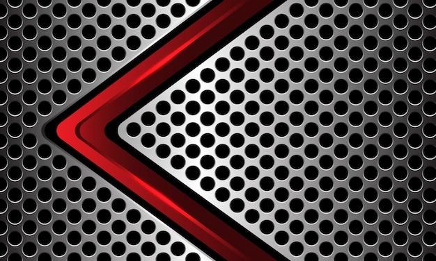 Czerwona czarna metaliczna strzałka kierunek srebrny okrąg siatka luksusowa technologia futurystyczny wektor tła