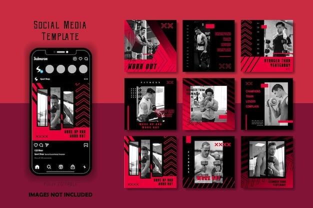 Czerwona czarna sportowa sportowa siłownia opracowuje zestaw szablonów postów w mediach społecznościowych