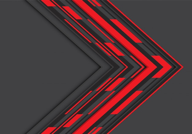 Czerwona czarna strzałka geometryczny kierunek na szarym tle pustej przestrzeni.
